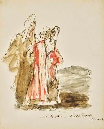 SIR DAVID WILKIE, R.A.   Study of Two Girls Walking