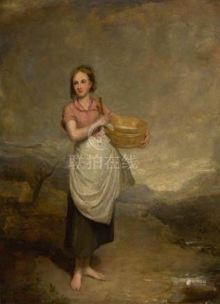 THOMAS DUNCAN, R.S.A., A.R.A   A Milkmaid in a Landscape