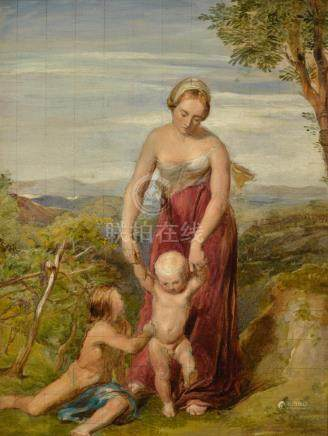 GEORGE RICHMOND, R.A. | A Woman with Two Children in a Hilly