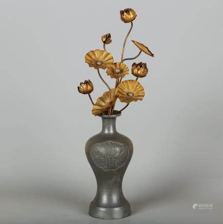 CHINESE GILT BRONZE FLOWER VASE