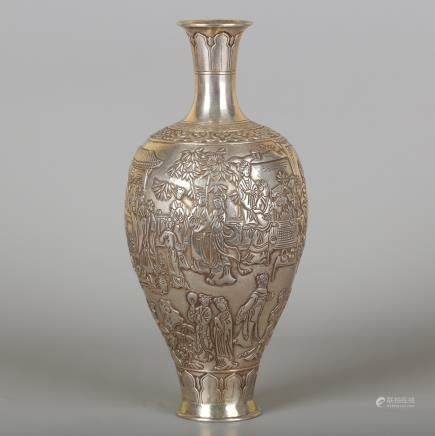 CHINESE SILVER FIGURAL VASE