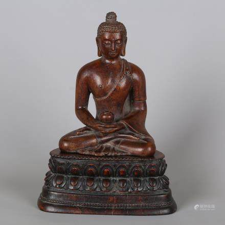 CHINESE HARDWOOD CARVED SHAKYAMUNI