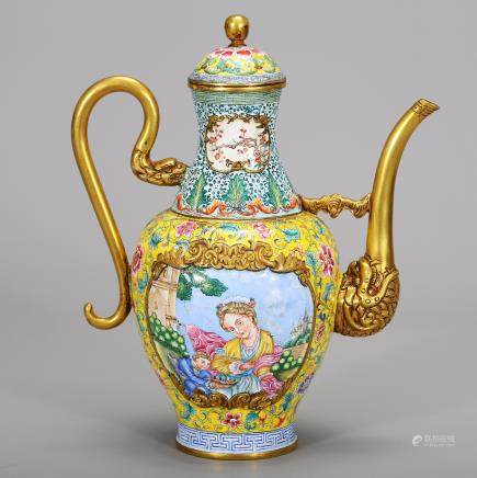 CHINESE BRONZE ENAMELED WINE EWER