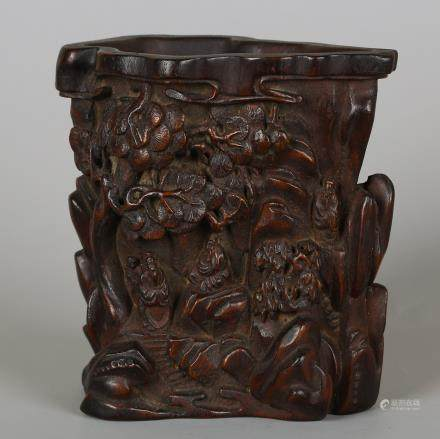 CHINESE HARDWOOD LANDSCAPE CARVED BRUSH POT