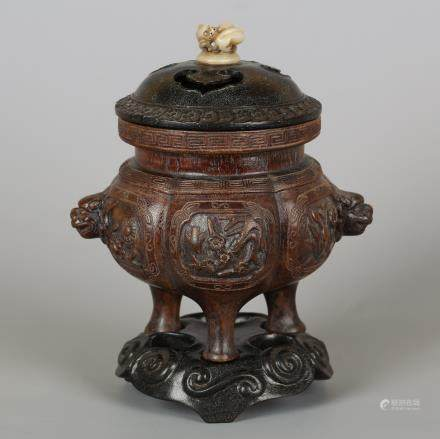 CHINESE HARDWOOD CARVED CENSER