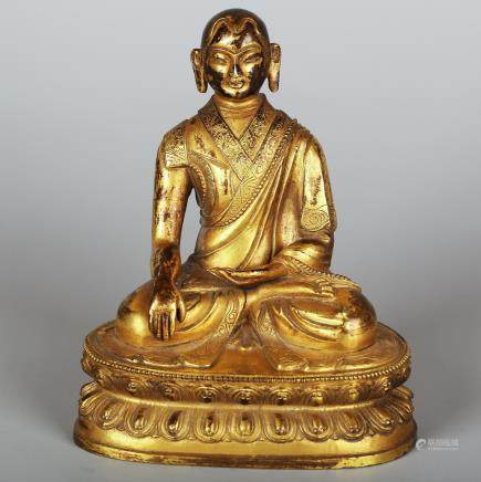 CHINESE GILT BRONZE FIGURE OF GURU