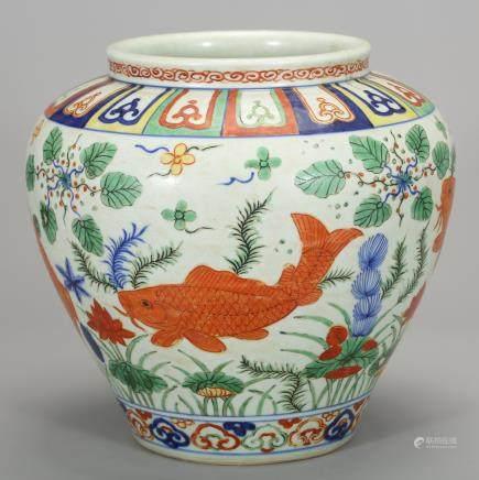 CHINESE WUCAI FISH JAR