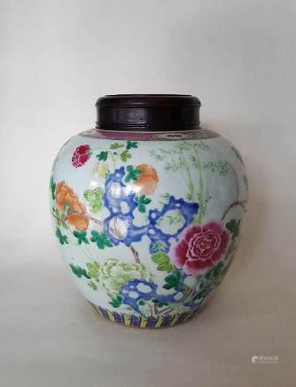 Large Chinese Famille Rose Porcelain Jar