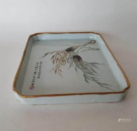 Chinese Qiangjiangcai Color Porcelain Tea Plate