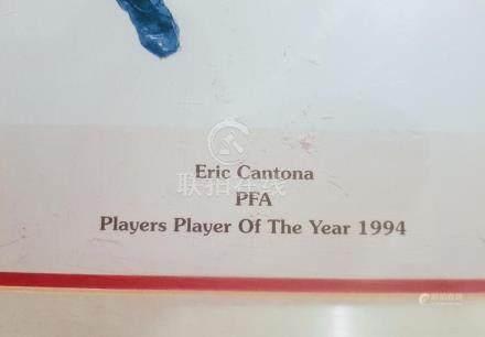 Lot 30 - Signed & framed 1994 print of LEGEND Eric Cantona (