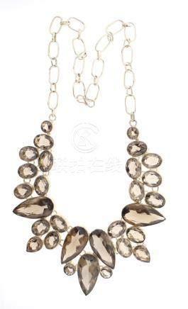 Vintage Silver Smoky Quartz large Necklace
