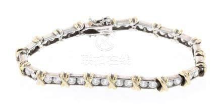 Sterling Silver & CZ Link Bracelet