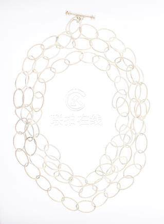 Vintage Polished Long Silver Link Necklace