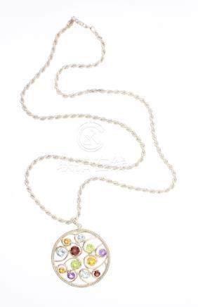 Vintage Multi Gem Stone Silver Pendant & Necklace
