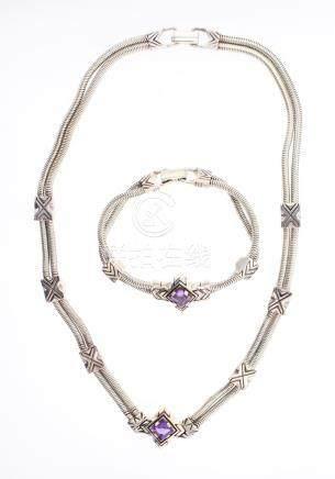 Vintage Polished Sterling Silver & Amethyst Bracelet & Neckl