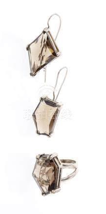 Vintage Mona Van Riper Smokey Quartz Earrings & Ring Set