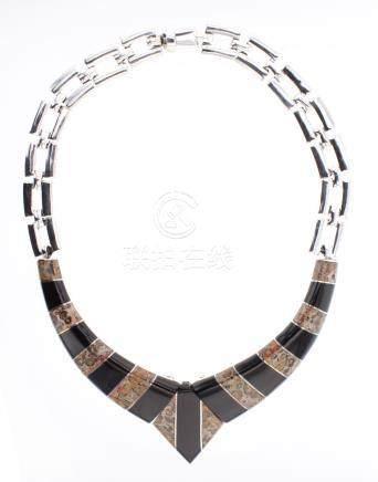 Vintage Taxco Polished Black Onyx & Jasper Inlay Necklace