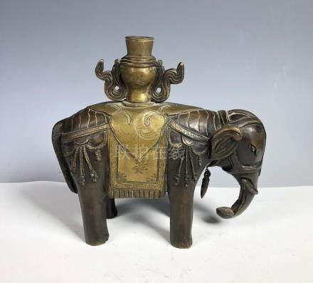 Bronze Elephant Candle Holder