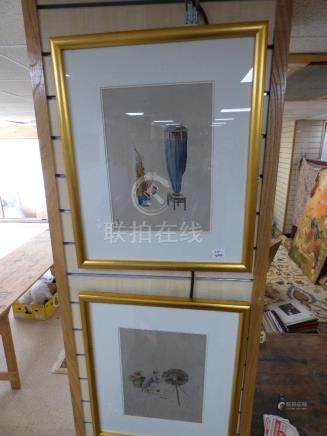 TWO ORIENTAL PAINTINGS BOTH WITH CHARACTER SEAL MARKS IN GILT FRAMES 60CM BY 50CM
