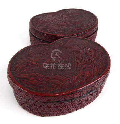 A pair of cinnabar lacquer work boxes and covers of kidney shaped form, w.