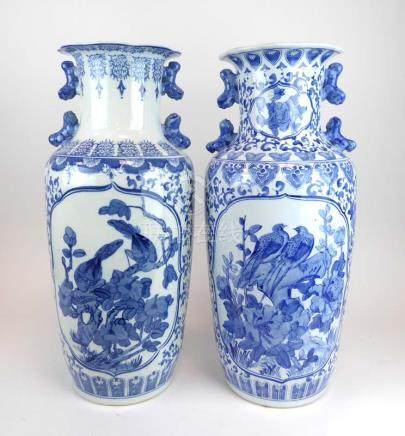 A pair of modern Chinese blue and white floor vases of baluster form,