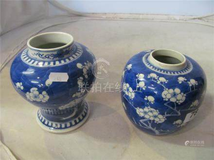 A Chinese prunus blossom vase and ginger jar (no Lid) four character marks to base.