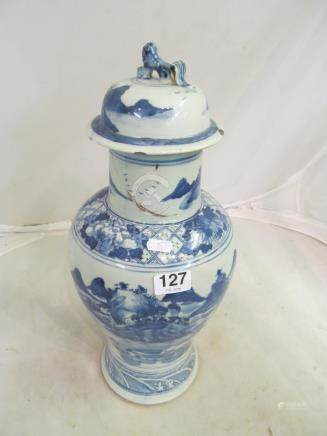 A large 19th Century oriental baluster lidded vase scene of mountains and rivers (a/f) lamp and vase