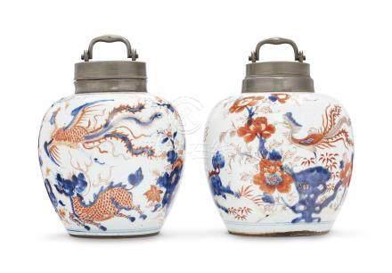 A PAIR OF 'CHINESE IMARI' GINGER JARS