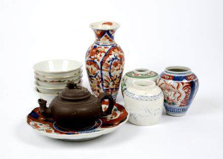 A group of Oriental ceramics, including a Cantonese famille verte ginger jar decorated with figure