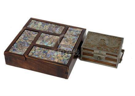 A Japanese hardwood and abalone puzzle box, 20 cm sq. Together with an early 20th Century Chinese