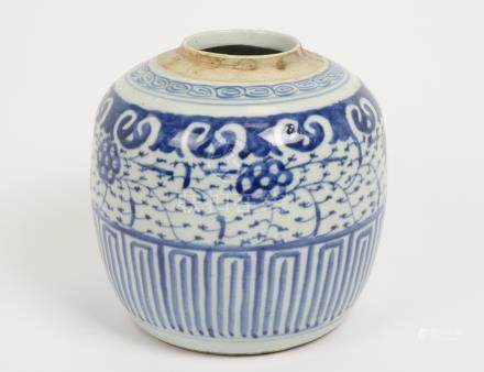 A Chinese blue and white ginger jar missing cover, 22 cm (af)