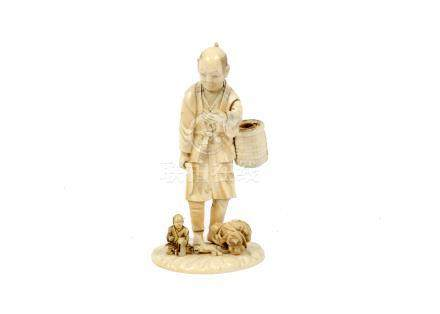 A Meiji period Japanese carved ivory figure of a farmer carrying a basket and scythe, incised