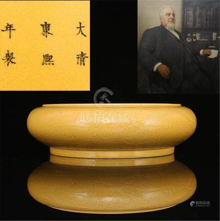Qing Emperor Kangxi Golden glaze Dark engraved dragon