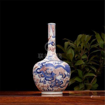 Qing Emperor Kangxi blue and white glaze red unicorn