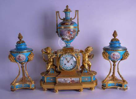 A FINE MID 19TH CENTURY FRENCH SEVRES PORCELAIN AND