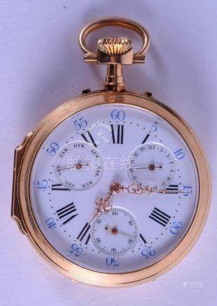 A GOOD 18CT GOLD FRENCH TRIPLE DIAL POCKET WATCH with