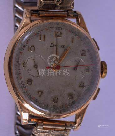 A VINTAGE 18CT GOLD EXACTUS CHRONOMETER WRISTWATCH with