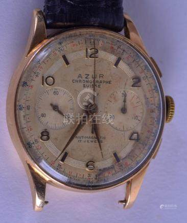 A VINTAGE 18CT GOLD AZUR CHRONOMETER WRISTWATCH with