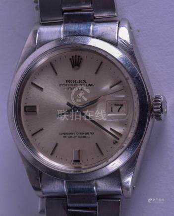 A VINTAGE ROLEX OYSTER PERPETUAL DATE WRISTWATCH with