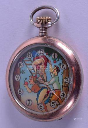 AN UNUSUAL CONTINENTAL SILVER EROTIC POCKET WATCH
