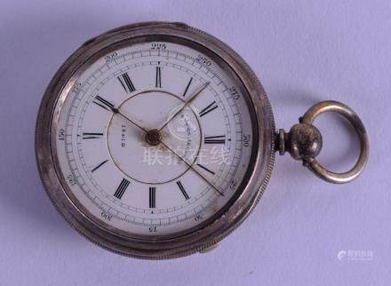 AN ANTIQUE ENGLISH SILVER CENTRE SECONDS POCKET WATCH.