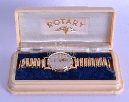 A VINTAGE ROTARY YELLOW METAL WRISTWATCH within a
