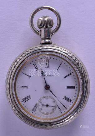 A LARGE WALTHAM POCKET WATCH within an unusual case.