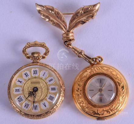 TWO YELLOW METAL WATCHES one Ingersoll & Garbo. 2.75 cm