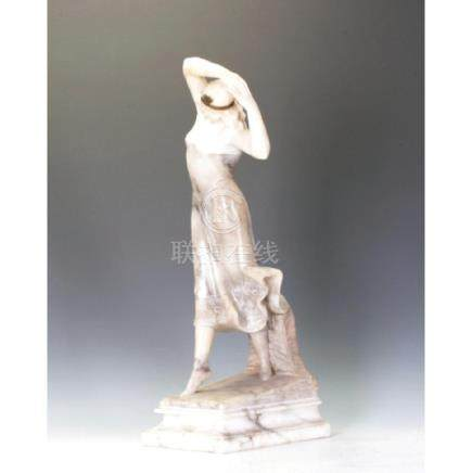 A Marble And Alabaster Figure