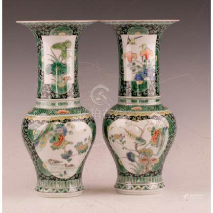 Pair Of Polychrome Vase