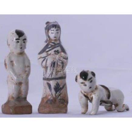 Three Song pottery Figures