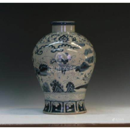 Blue And White Oval Vase