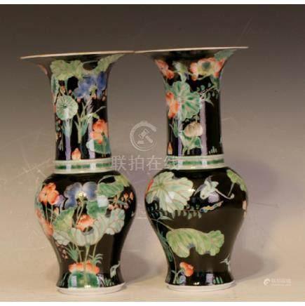 Pair Of Famille Rose Vase