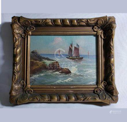 Antique Seascape Oil Painting Signed Gatson Carville